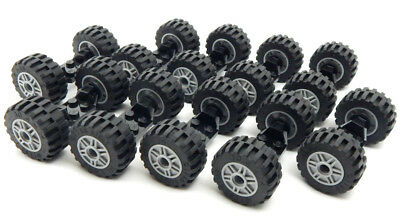 Lego Lot Of 10 Sets Small Racing Wheels With Tires /& Axles Set Car truck Rim//Hub