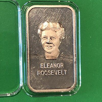 1973 Eleanor Roosevelt Collectible 1 Troy Oz .999 Fine Silver Bar Ingot Medal