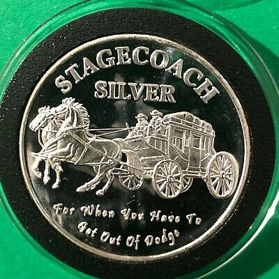 Stagecoach Divisible Into 4 x 1/4 Oz = 1 Troy Oz .999 Fine Silver Round Coin 999