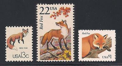 Red Fox - Set Of 3 U.s. Postage Stamps - Mint Condition