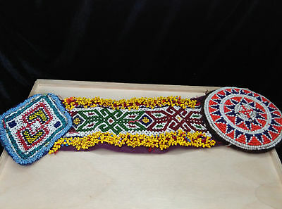 Vintage Kuchi Beaded Patch Belt Connector Belly Dance Fiber Arts Ethnic Clothing