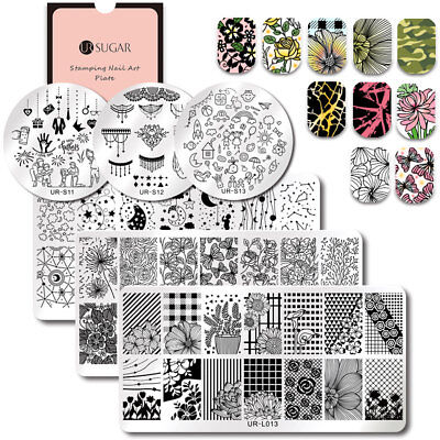 UR SUGAR Nail Stamping Plates Star Flower Childhood Nail Art Stamp Plates DIY