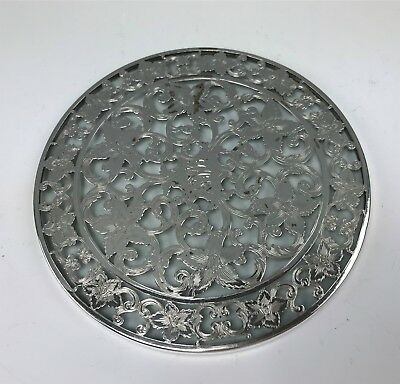 "Webster Sterling Silver Overlay on Glass 6"" Trivet"