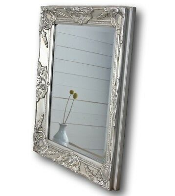 Mirror Silver 62x52cm Wood NEW Baroque Wall Bathroom Standing Antique