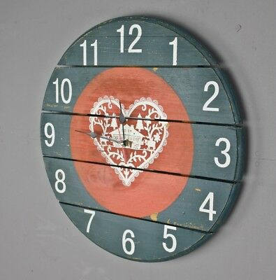 Wall Clock 40cm Wood Red Blue Watch Deco Wooden Antique Shabby Chic Colorful NEW