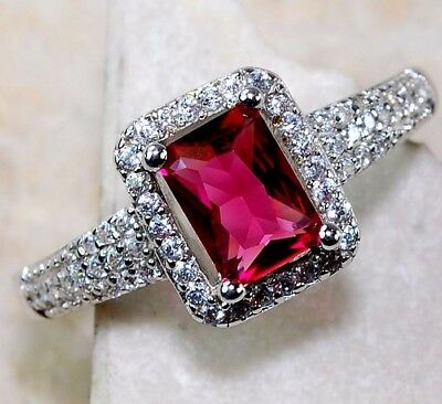 2CT Ruby & White Topaz 925 Solid Genuine Sterling Silver Ring Jewelry Sz 8