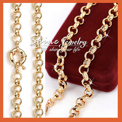18K Yellow Rose White Gold Gf Mens Womens Solid Belcher Ring Long Chain Necklace