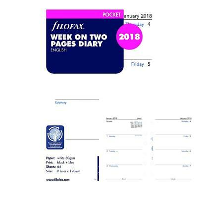 Filofax C68221-2018 2018 Week to View Refill, January December, Pocket Size:...