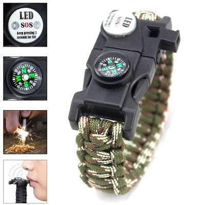 Survival Paracord Bracelet 20 In 1 Gear Kit With SOS LED Light Whistle Compass