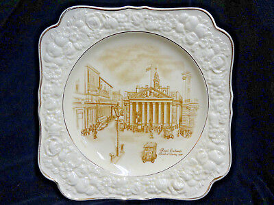 """Royal Exchange Bombed During 1940, Crown Ducal, Florentine Plate 8 1/4"""" Square"""
