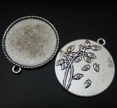 5pcs Vintage Silver Alloy Round Falling Leaves Cameo Setting Tray 34mm  50194