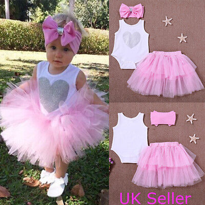 3Pcs Cute Toddler Infant Baby Girls Tops Romper Tutu Skirt Outfits Set Clothes