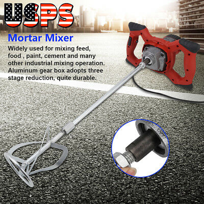 6Speed Electric Mortar Cement Concrete Mixer Paint Grout  High Low Gear 1500W US