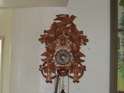 Vintage Black Forest Wooden Cuckoo Clock In Pristine Condition And V.g.w.o.