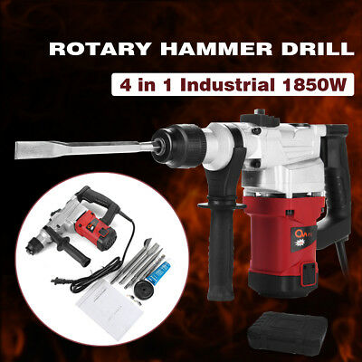 1850W Electric Rotary Hammer Drill Concrete Demolition Jackhammer Tool+4 Chisels
