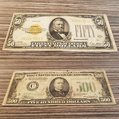RRR 1928 US $50 Dollar Gold Certificate(AA block) and 1934 500 USD BILL 2 IN 1