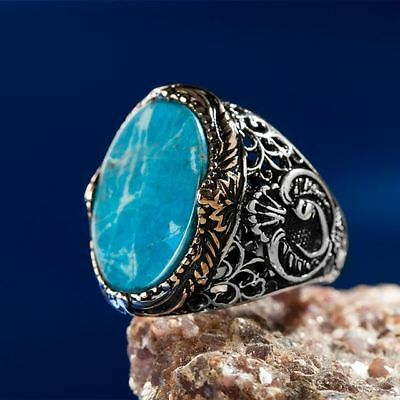 Handcraft 925 Sterling Silver Jewelry Turquoise Gemstone Men's  Ring