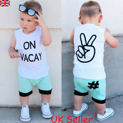Toddler Kids Baby Boys Summer Clothes Vest Tops T-shirt Shorts Pants Outfits Set