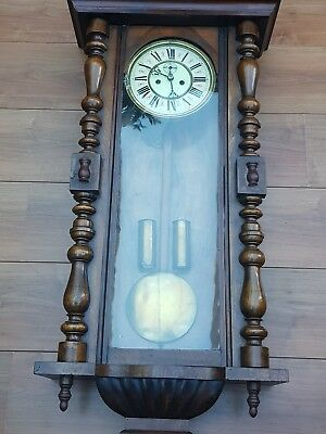 Large Walnut 1880  Vienna Double Weight Striking Wall Clock