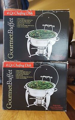 GOURMET BUFFET Set of 2, 4 Qt Heavy Duty Stainless Steel Chafing Dish NEW IN BOX