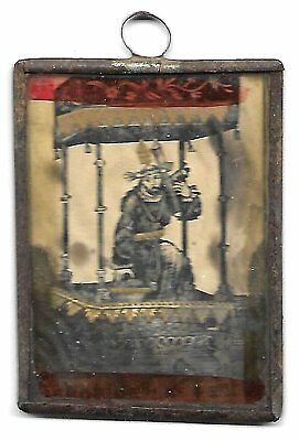 17th Cent Mexican Hand Painted on Paper Religious Hand made Metal Framed Icon