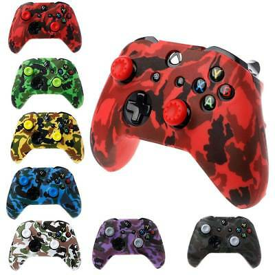 Silicone Gamepad Camouflage Cover + 2 Joystick Caps For XBox One X S Controller
