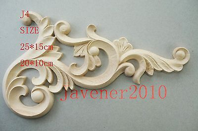 20*10cm Wood Carved Corner Onlay Applique Frame Craft Flower Unpainted J4 QTY.1