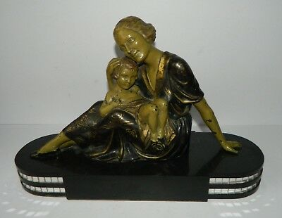Stunning Art Deco Mother and Child Sculpture on Marble Base