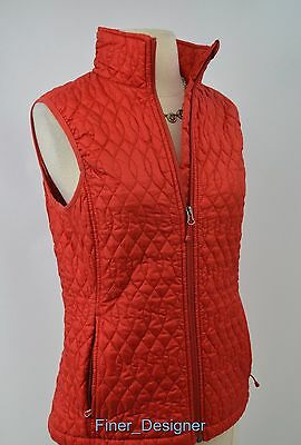 Lands End Vest red Zip Front thin quilt Quilted Size XS 2 4 Women's Puffer top