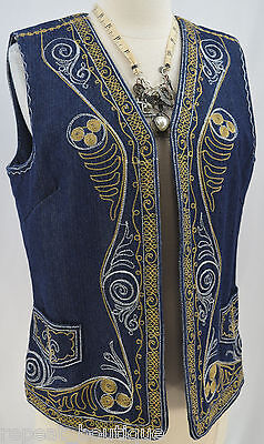 COLDWATER CREEK Blue Jean Denim Embroidered Vest top sleeveless hippy boho S NEW