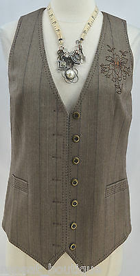 Chicos brown tweed button front lined V neck vest top suit coat Chico SZ 0 S NEW