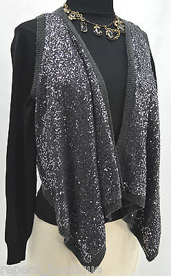 ABERCROMBIE & FITCH Asymmetrical Vest fly away Sequins Sleeveless sweater top S