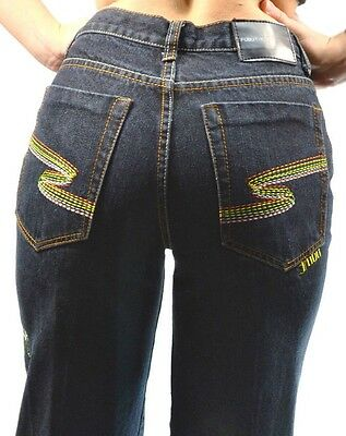 BOYS Girls SIZE 14 colorful embroidered FUBU JEANS THE COLLECTION Denim Pants
