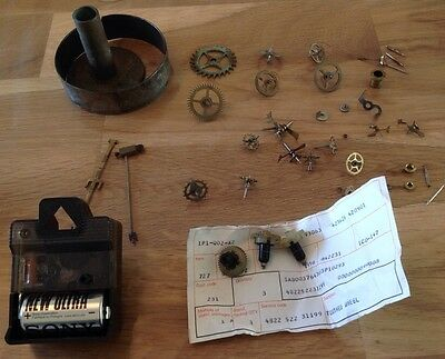 Vintage Clock Parts Hangers Hands Cogs Wheels On Off Quartz Movement