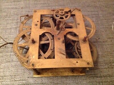 Antique Clock Movement Weight Driven 95x120mm Untested Repair Or Spare Parts