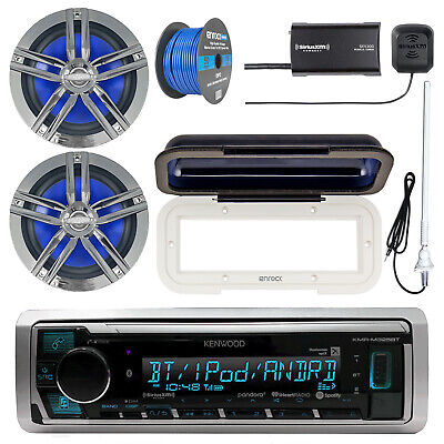 Kenwood Marine Bluetooth Radio w/ Tuner + Accessories , 2x Charcoal Speakers