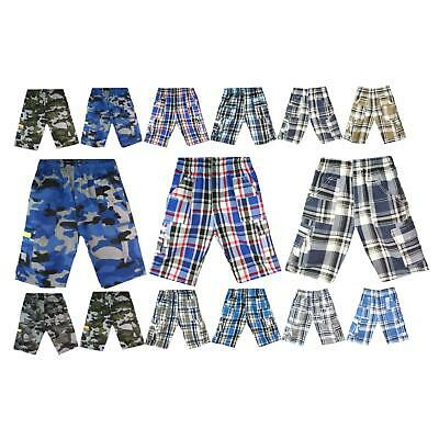 Boys Camouflage Checked Shorts Multipocket ¾ Length Combat Kids Age 3-14 Years