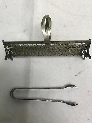 vintage antique STERLING SILVER claw sugar tongs & metal sugar cracker? holder