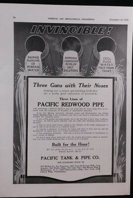 Vintage Ad 1918 PACIFIC TANK & PIPE  PACIFIC REDWOOD PIPE & KELLY-FILTERS  #33