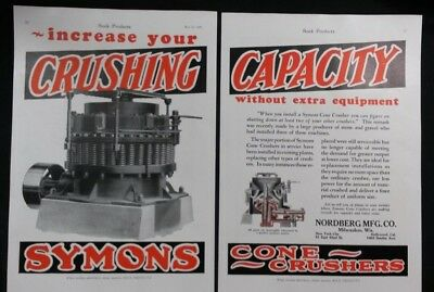 Vintage Ad 1920's SYMONS CONE CRUSHER TWO PAGE COLOR AD  TWO OTHER ADS  #20