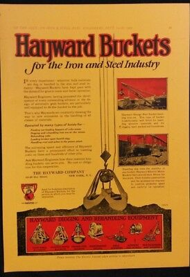 Vintage Ad 1920's HAYWARD BUCKETS  TWO OTHER ADS ON REAR   COLOR AD    #22