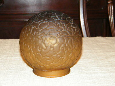 Vintage Art Deco Amber Frosted Glass Brain Globe Ball Shade