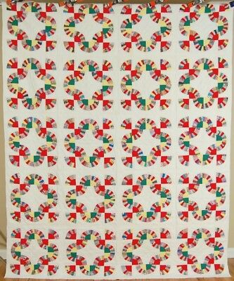 "COLORFUL Vintage 40's ""Chinese Fans"" ""Mohawk Trail"" Antique Quilt ~GREAT DESIGN!"