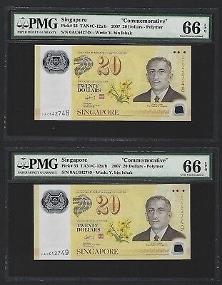 2007 Singapore $20 Dollars Commemorative, P-53 PMG 66 EPQ GEM UNC 2x Consecutive