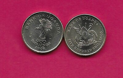 Uganda 500 Shillings 2008 Unc East African Crowned Crane Head Left,national Arms