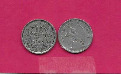 Chile Rep 10 Centavos 1923 Vf-Xf Defiant Condor On Rock Left,without O. Roty At