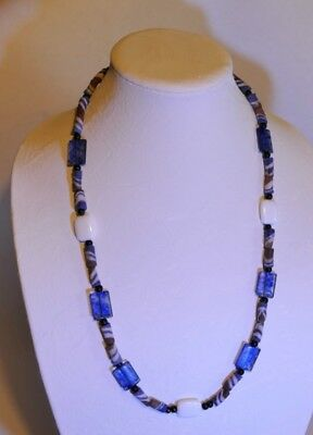 Premium African Powder Glass Bead Necklace:  Blue Sand Bottle Beads, White Agate