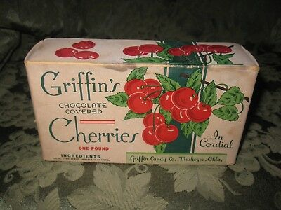 Vintage Griffin's Chocolate Covered Cherries Box - Muskogee, Oklahoma