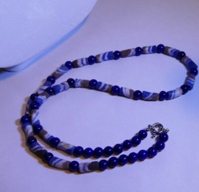 Premium African Powder Glass Bead Necklace:  Blue Sand Bottle and Lapis Lazuli
