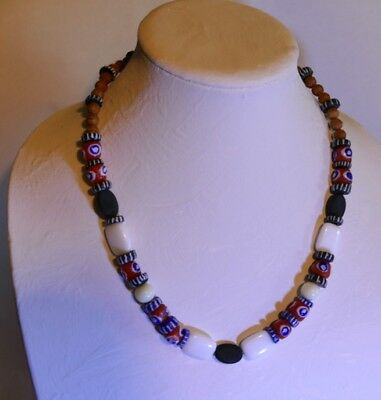 Premium African Powder Glass Bead Necklace:  Blue and Orange Eyes